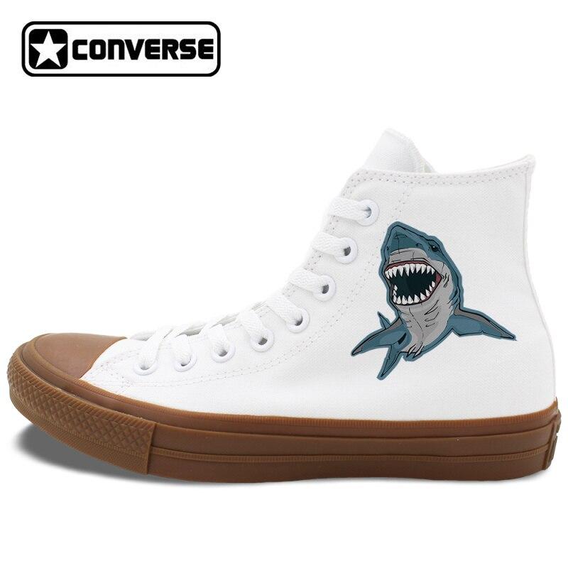 Prix pour Animaux Requin Féroce Conception Originale Converse Chuck Taylor II de Toile Sneakers Hommes Femmes High Top Planche À Roulettes Chaussures