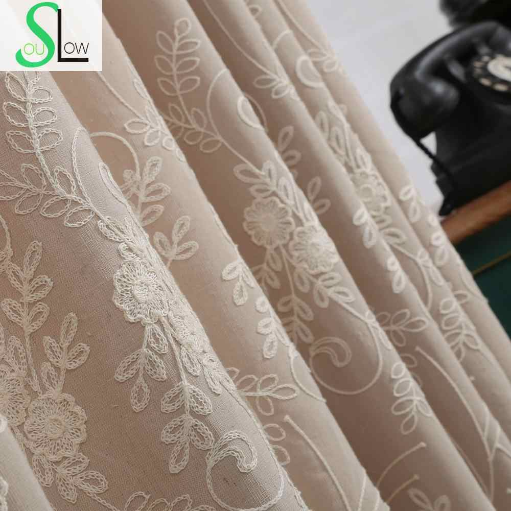 Daohuaxiang Stereo Embroidery Curtain Cotton FloralCurtains Cortinas For Living Room Bedroom Modern Tulle Kitchen Sheer