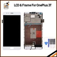 Dla Oneplus A3010 3 T Wyświetlacz LCD Ekran Dotykowy Digitizer Zgromadzenie Dla OnePlus 3 T Z Ramką LCD Wymiana Naprawa części + Narzędzia