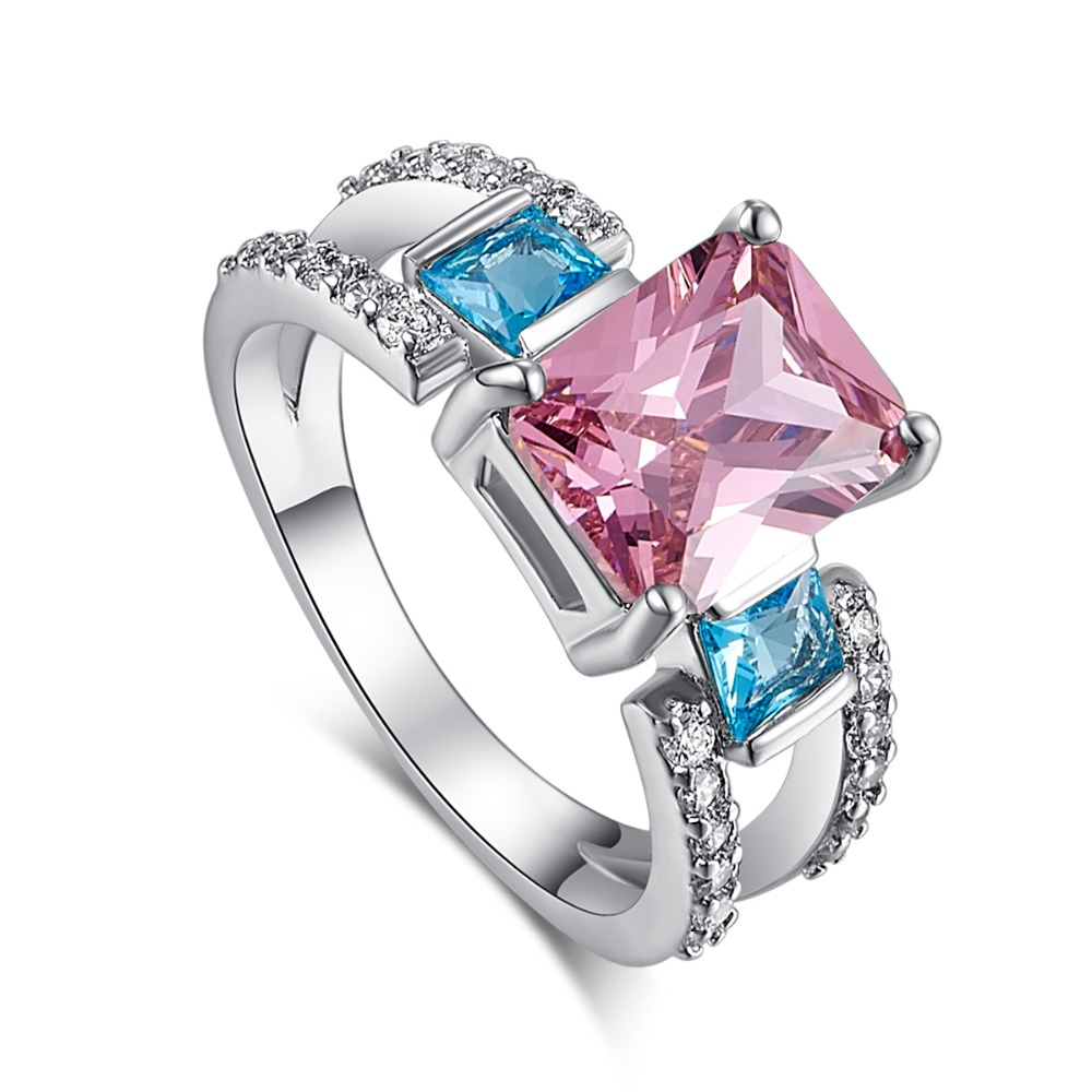 SIMICOCO Fashion Blue Pink AAAA CZ Stone Silver Color Ring Women Party Gift Wholesale Zirconia Jewelry