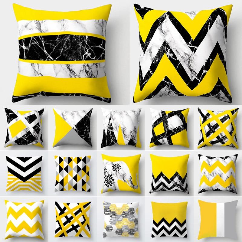 Cojines Decorativos Para Sofa Cushion Cover Yellow Pillow Geometric Marble Polyester Pillowcase Home Decoration Decor 40548