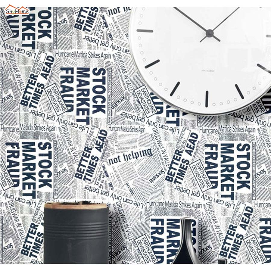 ShineHome Vintage Newspaper Fashion Mural Rolls Room Background Wallpaper 3d for Livingroom Wall Paper 3 d Home Ceiling Deco shinehome 3 d wallpaper for livingroom 3d wall spa nail salon cosmetic massage rose store rolls wall paper roll papel de parede