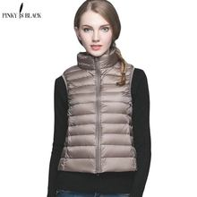 PinkyIsblack 2019 New Women 90% White Duck Down Vest Women Ultra Light Duck Down Vest Jacket Autumn Winter Stand Collar Female недорого
