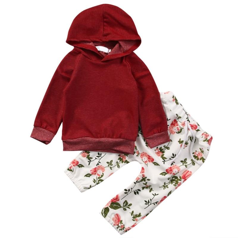 Hot Sale Infant 2017 Newborn Baby Girls Kids Solid Sweatshirt Hooded Tops Flowers Trousers Pants 2PCS Active Pop Set Clothes