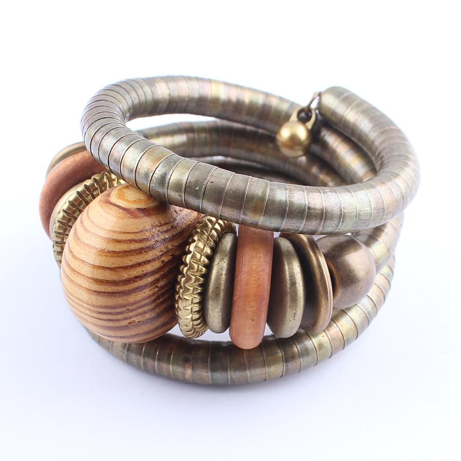 2017 Multilayer Vrouwelijke Armband Legering Snake Chain Hout Kralen - Mode-sieraden - Foto 4