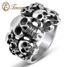 New fashion domineering men's silver tainless steel skull ring gothic punk  etro style attractive skull ring