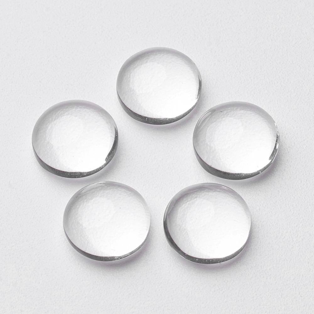 100 Pcs Beautiful Clear Transparent Dome Half Round Glass Cabochons DIY Jewelry