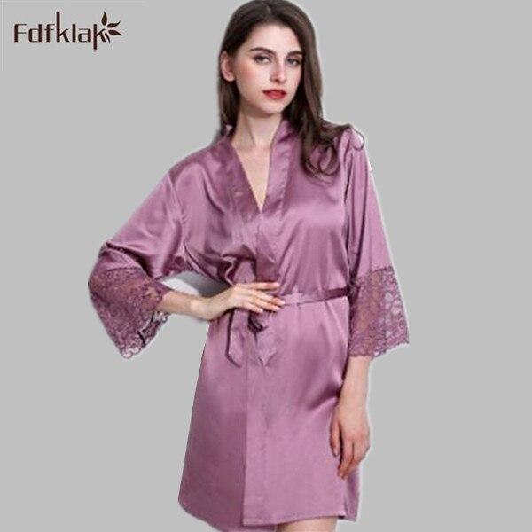 Шелковый халат женщины 2016 новая мода кимоно ночная рубашка невесты халаты плюс размер весна лето dessing платья для женщин Q806