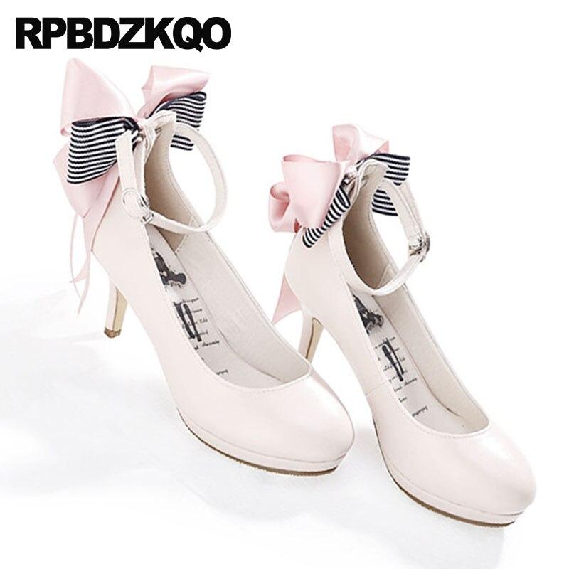 Stiletto Japonais 2018 Pompes Pouces Talons Rond Mignon Bride La Rouge Vin apricot Hauts Bout Tendance Arc 3 Lolita Chaussures Cheville Noir À Nude Kawaii 1dwvqXw