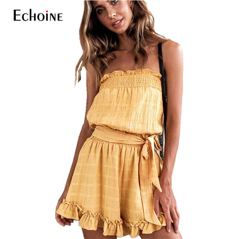 e646919db3dd 2019 New Summer women jumpsuit ruffles jumpsuit women s sexy tube top hater  short womens jumpsuits  rompers