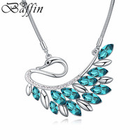2014 Wholesale Luxury Women Vintage Long Chain Crystal Peacock Feather Tassel Necklace Crystals from Swarovski