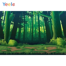 Yeele Cartoon Green Trees Backdrops Grassland Forest Photography Background Customized Photographic Backdrop For Photo Studio white snow forest trees photo studio photography backdrops vinyl foto background