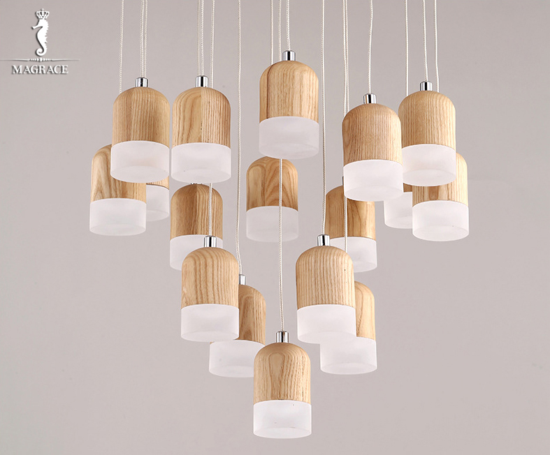 Modern Led Pendant Light Creative Wood Pendant Lamp Hanging light  Home Decorative Cord Pendant Lamp Solid Wood Art Droplight denmark antique pinecone ph artichoke oak wooden pineal modern creative handmade wood led hanging chandelier lamp lighting light