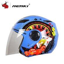 Nenki motocicleta abrir cara casco cascos de verano medio casco de motor y claro lente casco de la motocicleta