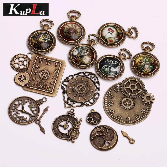 Vintage Metal Mixed Steampunk Clock Charms DIY Handmade Jewelry Accessories Decorative Pendant 15pcs