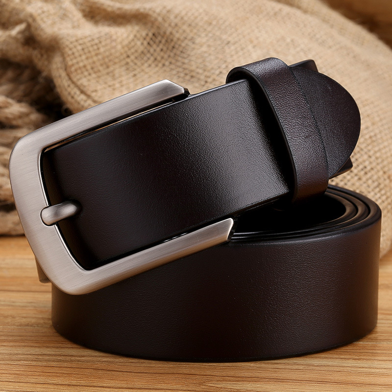 Vintage Style Pin Buckle Cow Genuine Leather Belts for Men High Quality Mens Belt Cinturones Hombre Military Style PD 02