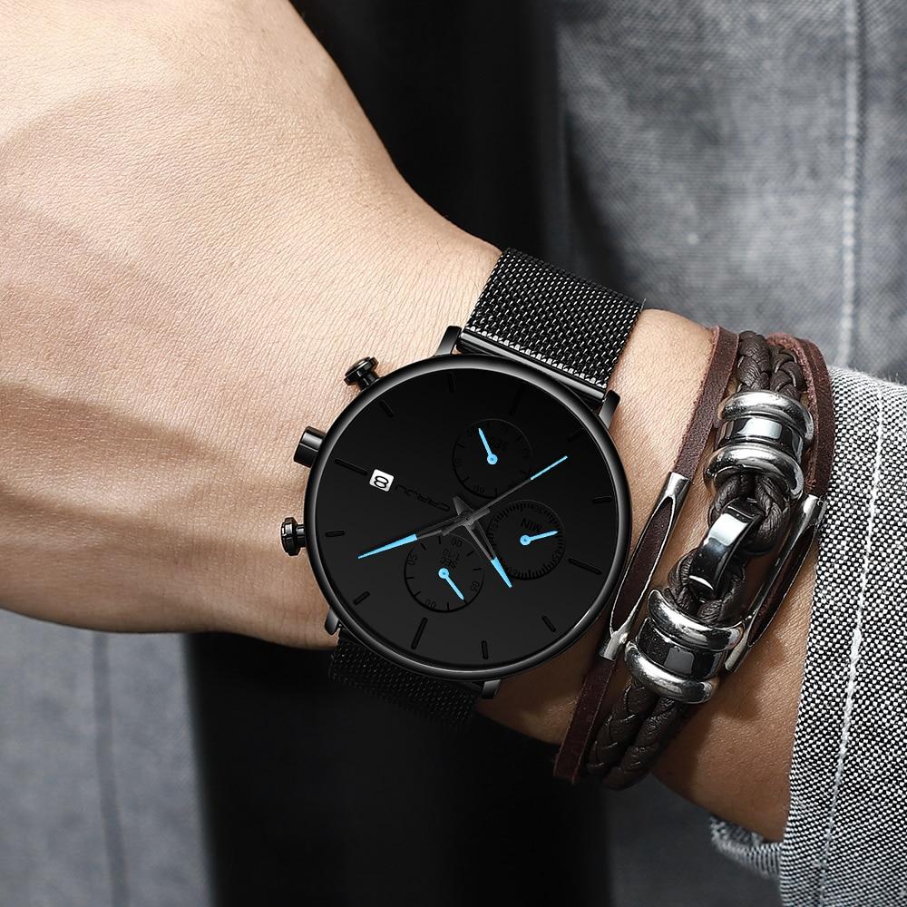 CRRJU mode montre hommes étanche mince maille bracelet minimaliste montres pour hommes Quartz sport montre horloge Relogio Masculino 5