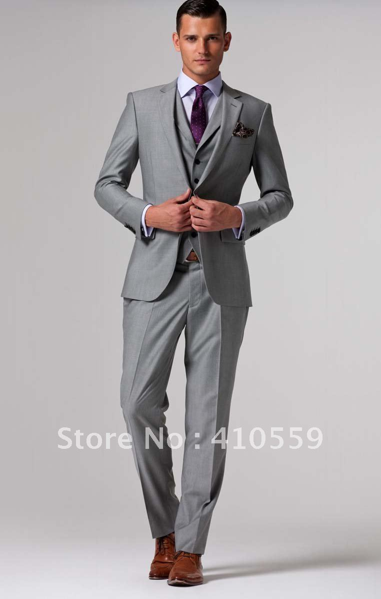 Wholesales Free Shipping Fresh Wool Suit Custom Made Men Fashion Suit Light Gray Suit In Suits