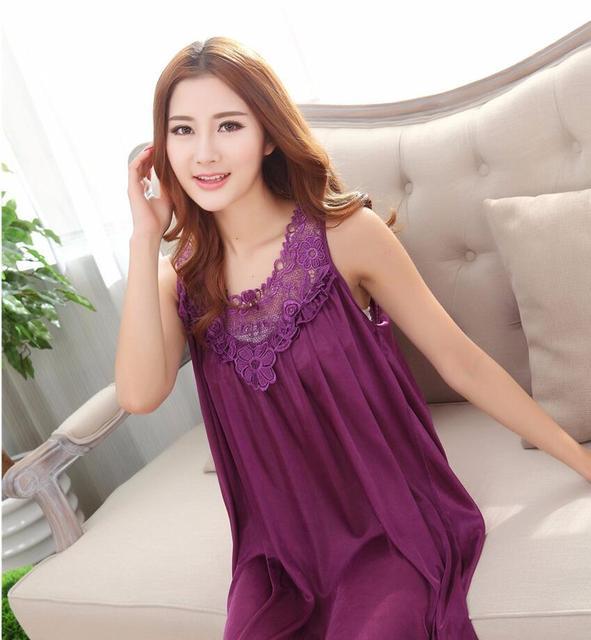 2018 new nightgown silk lace pijama women nightwear girls sleepwear lingerie casual robe night dress home clothing