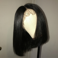 Short Bob Wig Brazilian Remy Hair Straight Lace Front Human Hair Wigs For Black Women Natural Color Lace Wig King Rosa Queen(China)