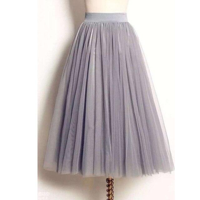 Uwback женщин юбка Лето 2017 г. длиной макси Юбка из сетчатой ткани тюль юбки Женская Полный юбка-пачка 3 цвета Mujer Falda KB1040