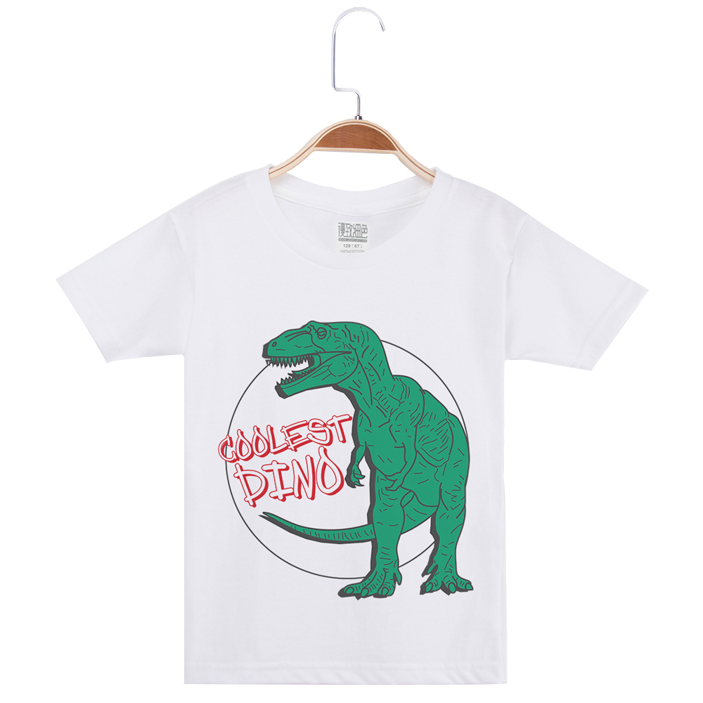 Limited Time Discount White T Shirt For Boys Cotton Fashion Short Sleeve Kids Tees Brand <font><b>Tshirt</b></font> <font><b>Dinosaur</b></font> Print Child Clothing image