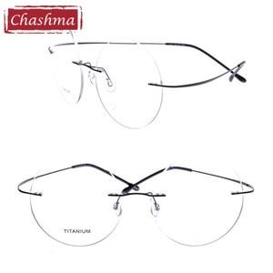 Image 5 - Chashma New Brand Titanium Rimless Eyeglasses Frames Ultra Light Myopia Round Vintage Glasses Optical Frame for Male and Women