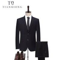 TIAN QIONG Custom Made Dark Blue/Black Men Suit, Tailor Made Suit, Bespoke Wedding Suits For Men, Slim Fit Groom Tuxedos For Men