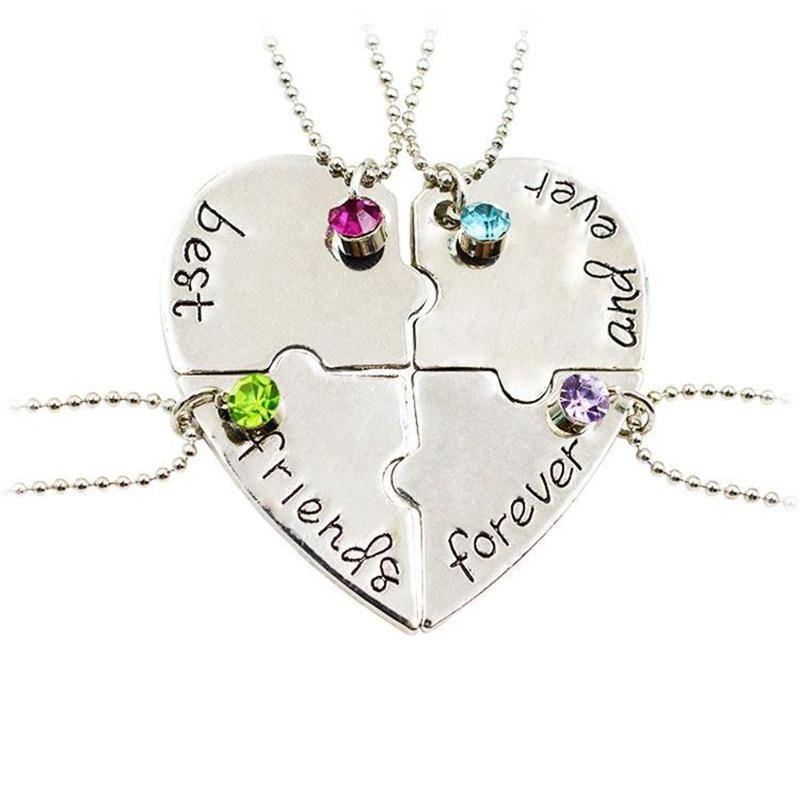Nowa Popularna biżuteria cztery części układanki W kształcie serca inkrustowane cyrkonie wisiorek Best Friends Forever and ever Necklace