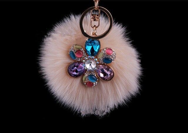 New Fashion Cute Fox Big Size Genuine FurBall Plush Keychain Car Key Chain Ring Bag Pendant Pink