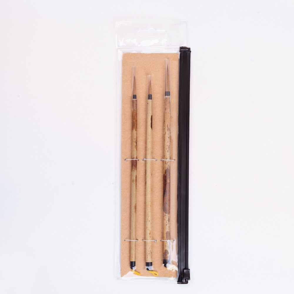 High Quality 3PC/Set BK-02 Kolinsky Hair Bamboo Handle Chinese Painting Supplies Art Calligraphy Watercolor Paint Brush Set