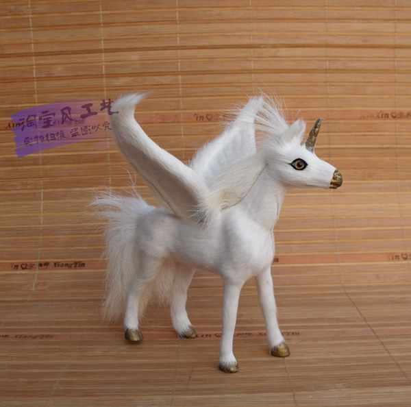 Симпатичные Моделирование игрушка единорог смолы и мех Pegasus лошадь кукла с крыльями подарок около 14x12x15 см 0919