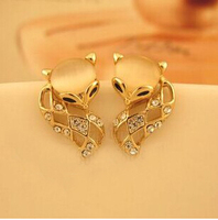 Opal Crystal Fox Stud Earrings Korean Luxury Jewelry Brincos Femininos Pendientes Aretes Bijoux Femme Boucles D