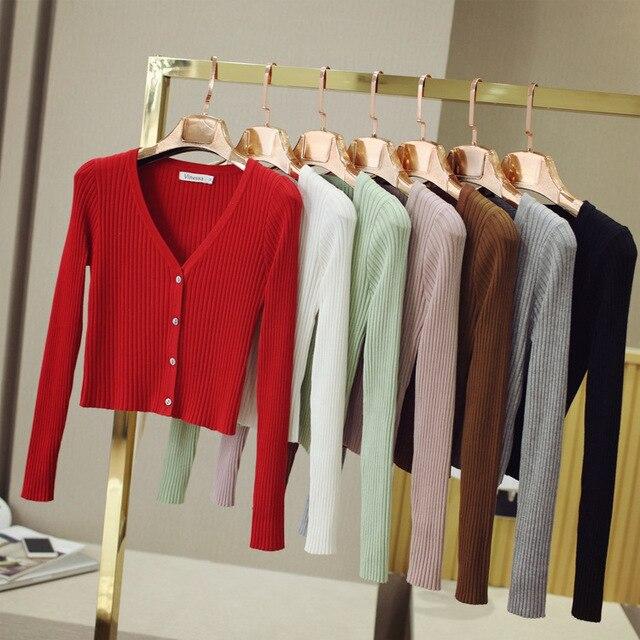77e5e077466 2017 Contrast Spring Autumn Women All Match Cardigan Outerwear Long Sleeve  Slim Shrug V-neck