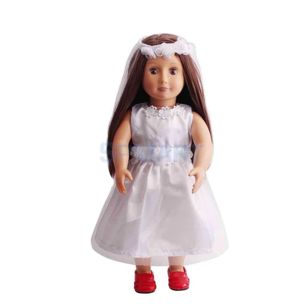 白ノースリーブドレスのスカートベールセットのための 18 インチ私の人生の旅人形アクセサリー
