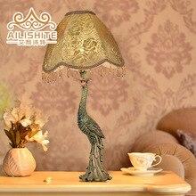Lamps Table Indoor Lighting European iron creative study resin table lamp floor lamp high-end bedroom lamp peacock