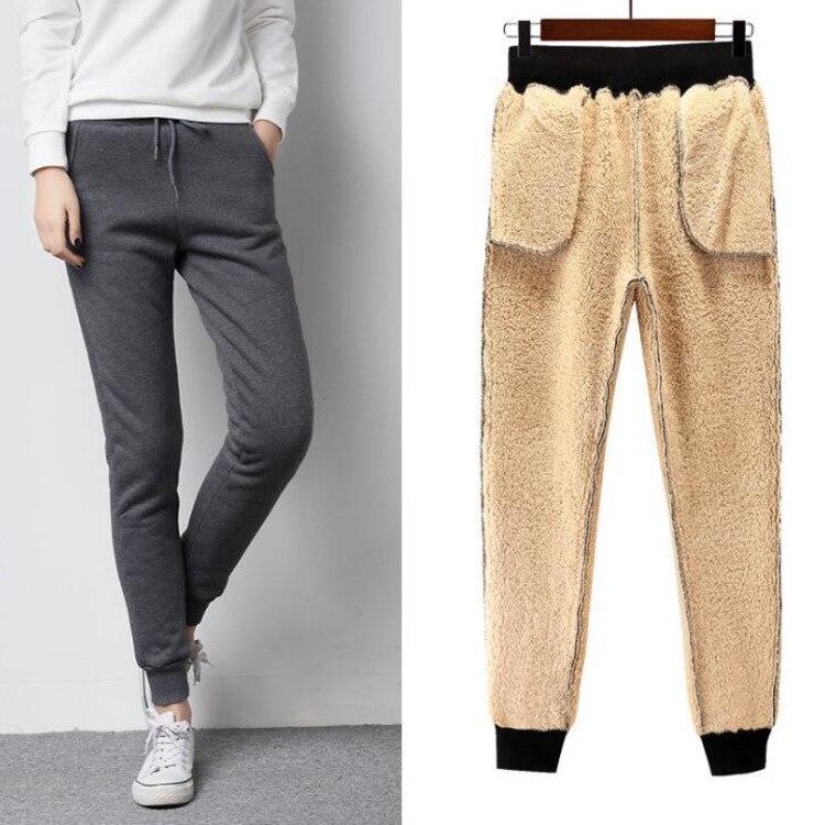 #0845 2018 Winter Korean Fashion Solid Color Track Sweatpants Women Casual Trousers Thick Velvet Pants Warm Fleece Plus Size 3XL