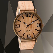 New Simulation Wooden Quartz Men Watches Wooden Color Leather Strap Watch Wood Male Wristwatch Relojes Relogio Masculino saat