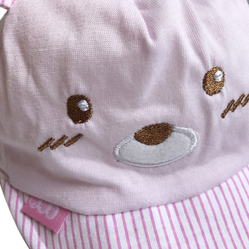 Bear Face Newborn Baby Baseball Cap - Close Up