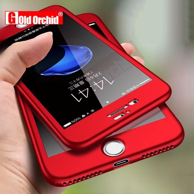 Or Orchidée 360 Degrés Téléphone Cas Pour iPhone X Cas Avec Trempé verre Pour iPhone 5 5S 6 6 s 7 8 Plus le Cas Protéger avant + arrière