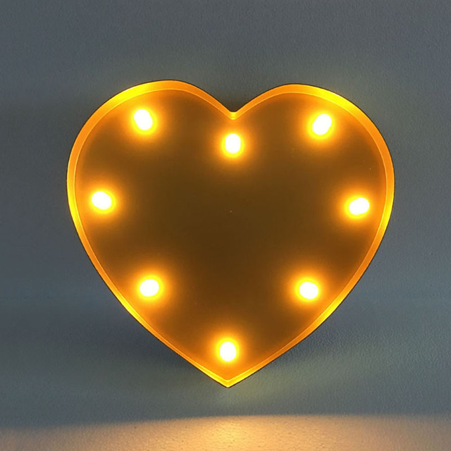 8 leds abs heart shaped led light shop cafe bar shop decorative night light romantic christmas