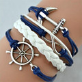 Hecho a mano Homme Del Hambre Bird Vintage Anchor Pulseras Pulsera de Cuero del Encanto pulseras pulseras para las mujeres pulseira couro