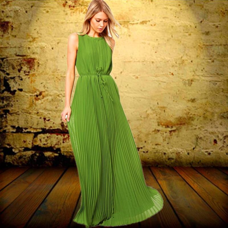5f260cdbafa 2019 европейский и американский хит продаж без рукавов зеленое  плиссированное платье винтажное длинное шифоновое платье длиной