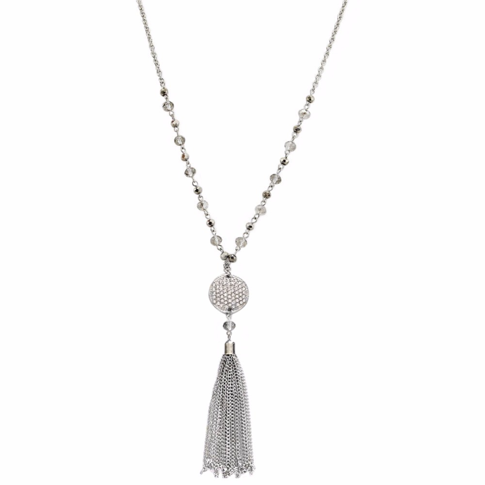 TrinketSea Silver Long Tassel Pendant Necklaces for Women Crystal Bead Alloy Chain Necklaces Free Shipping Fashion Jewelry Gift gorgeous flower rhinestone bead tassel alloy pendant necklace for women