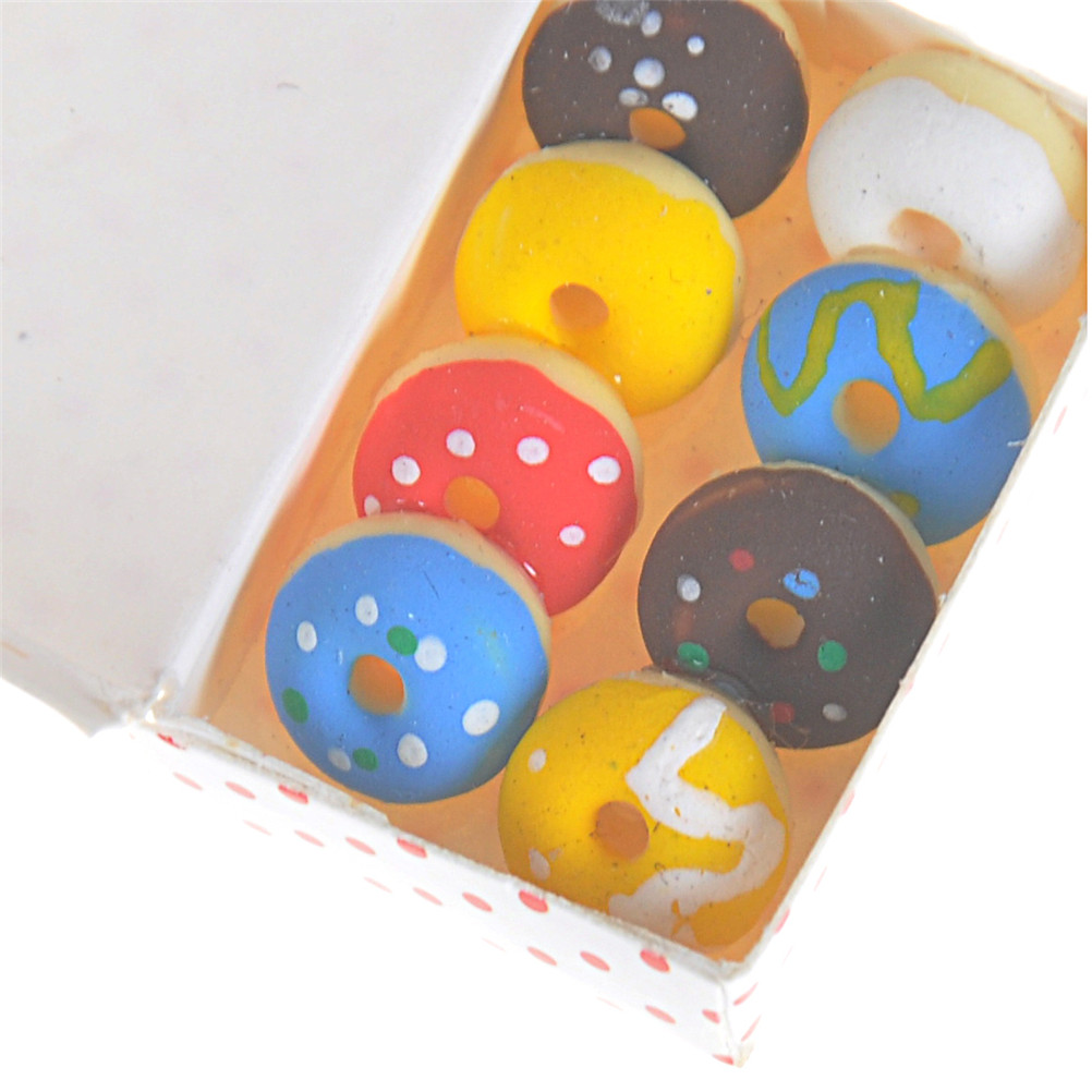 1/12 1 Box  Resin Lovely Gift Simulation Doughnut Kitchen Food Fake Cakes Dollhouse Miniature