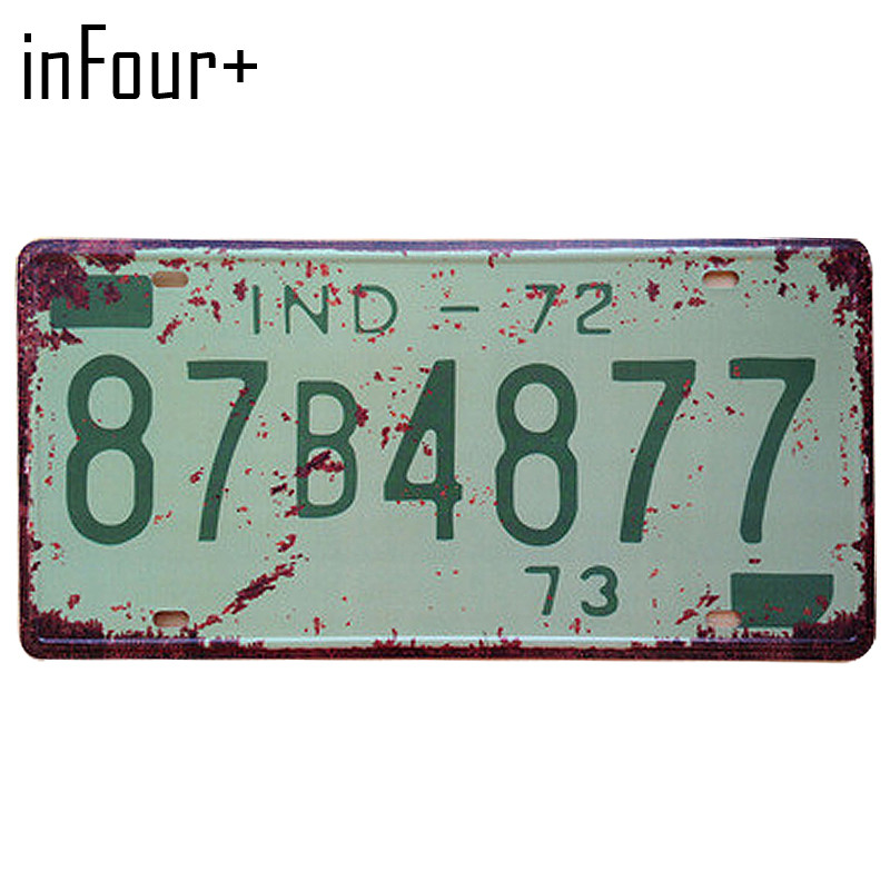 [inFour+] 87B4877 License Plate Metal Plate Car Number Tin Sign Bar Pub Cafe Home Decor Metal Sign Garage Painting Plaques Signs