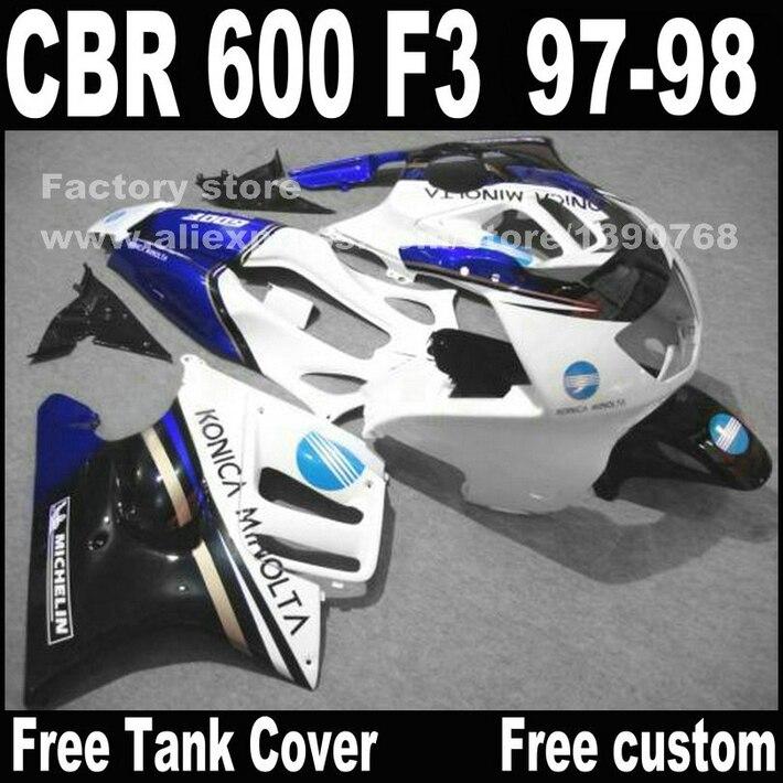 Peças da motocicleta para HONDA CBR 600 carenagens F3 1997 1998 CBR600 F3 97 98 azul branco fairing kit + tampa Do Tanque A1
