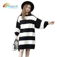 XSJPZH Stripe Sweater Dress Women 2017 New Autumn Winter Loose Knitted Dress Ladies Lantern Sleeve Leisure