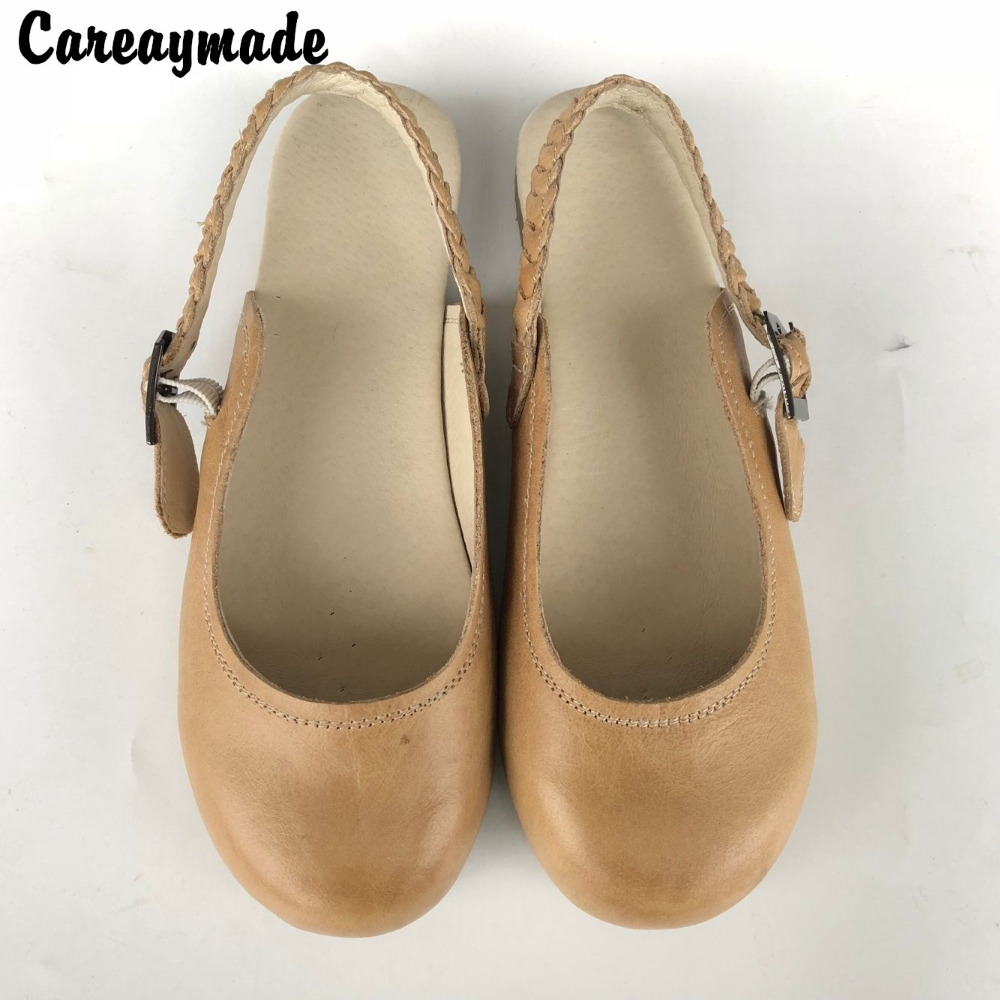 Careaymade-Head layer cowhide pure handmade shoes,the retro art mori girl shoes,shallow mouth lacing retro shoes,Yellow&Brown careaymade new 2017 summer head layer cowhide pure handmade shoes the retro art mori girl flat singles shoes ivory white&green