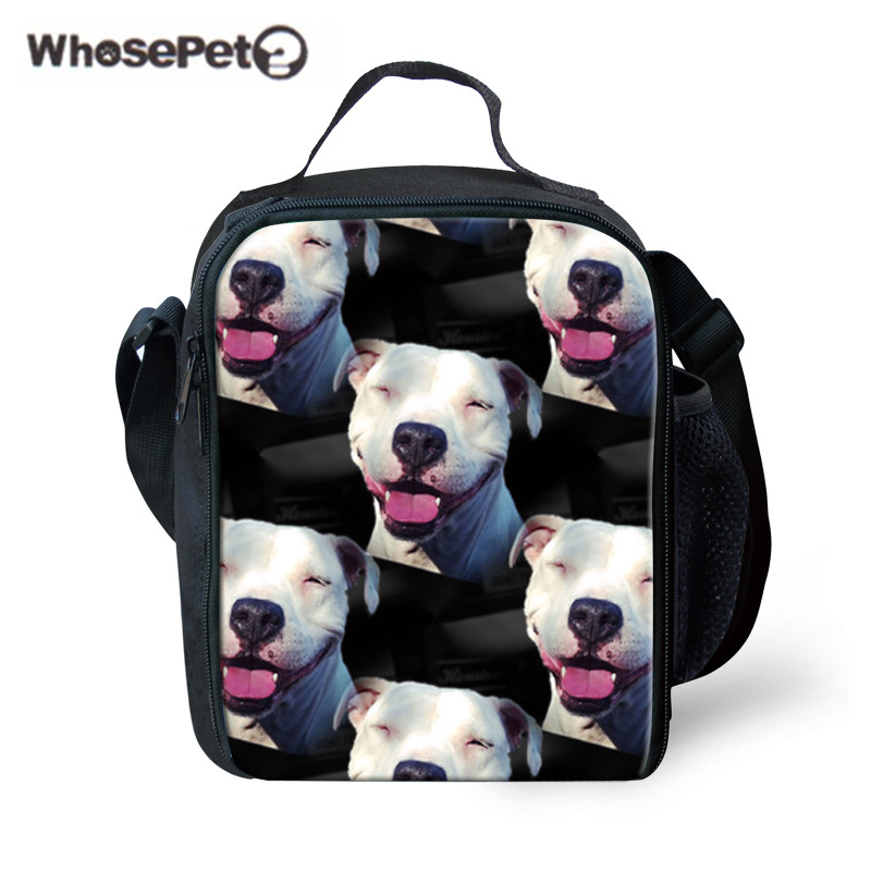 WHOSEPET Students Lunch Bag Bull Terrier Printing Lunchbag Children Portable Picnic Food Storage for Kids Thermal Lunchbox Bolsa